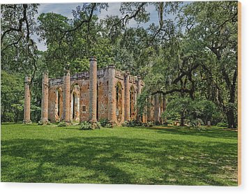 Wood Print featuring the photograph Church Of Prince William Parish  -  Sheldonchurchruins173000 by Frank J Benz