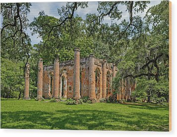 Wood Print featuring the photograph Church Of Prince Williams Parish  -  Sheldonchurchruins173017 by Frank J Benz