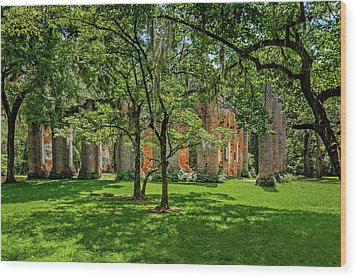 Wood Print featuring the photograph Church Of Prince William Parish  -  Sheldonchurchruins173041 by Frank J Benz