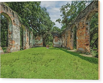 Wood Print featuring the photograph Church Of Prince William Parish  -  Sheldonchurchruins173052 by Frank J Benz