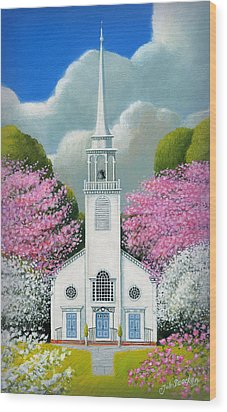 Church Of The Dogwoods Wood Print by John Deecken