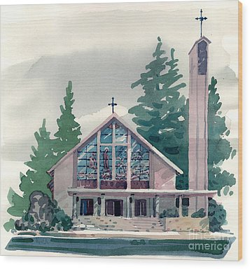Church Of The Immaculate Heart Of Mary Wood Print by Donald Maier