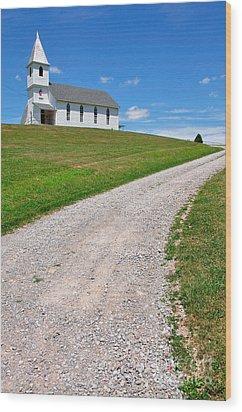 Church On A Hill Wood Print by Thomas R Fletcher