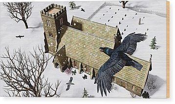 Church Ravens Wood Print by Peter J Sucy