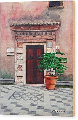 Church Side Door - Taormina Sicily Wood Print