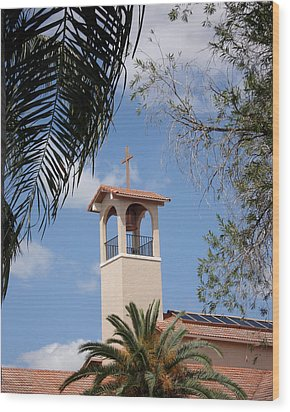Church Steeple Wood Print by Rosalie Scanlon