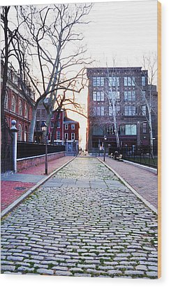 Church Street Cobblestones - Philadelphia Wood Print by Bill Cannon
