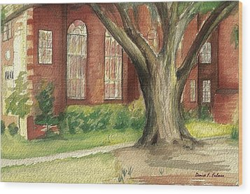 Wood Print featuring the painting Church Tree by Denise Fulmer