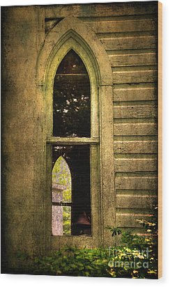 Church Window Church Bell Wood Print by Lois Bryan