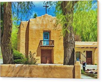 Church With Blue Door Wood Print by Jeff Kolker