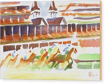 Churchill Downs Watercolor Wood Print