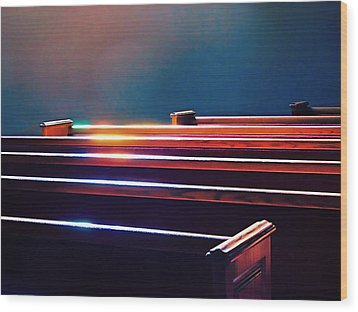 Churchlight -- Pews Under Stained Glass Wood Print by Wendy J St Christopher