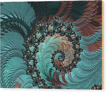 Wood Print featuring the digital art Churning Sea Fractal by Bonnie Bruno