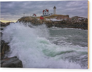 Wood Print featuring the photograph Churning Seas At Cape Neddick by Rick Berk