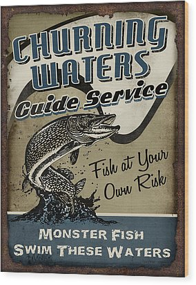 Churning Waters Guide Service Wood Print by JQ Licensing