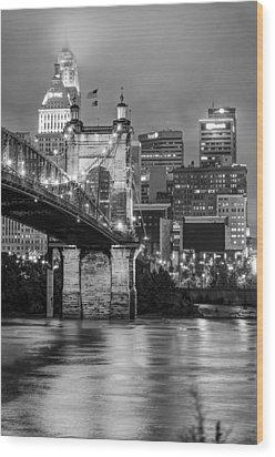 Cincinnati Ohio Skyline And Bridge - Black And White Wood Print