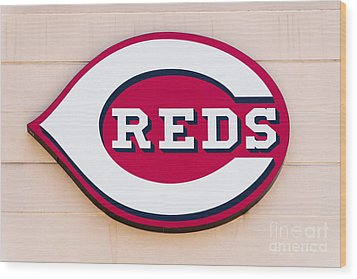 Cincinnati Reds Logo Sign Wood Print by Paul Velgos