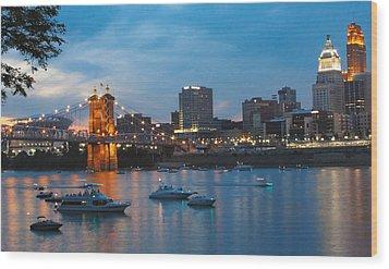 Cincinnati River Front Wood Print by John Mullins