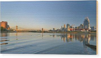 Cincinnati Riverfront Panorama Wood Print