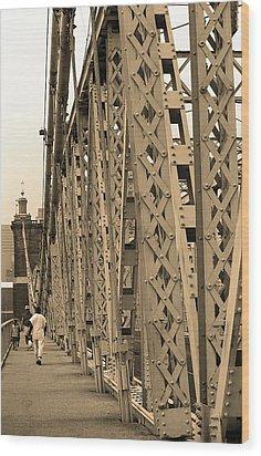 Cincinnati - Roebling Bridge 3 Sepia Wood Print by Frank Romeo