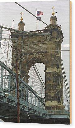 Cincinnati - Roebling Bridge 4 Wood Print by Frank Romeo