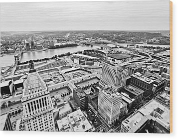 Cincinnati Skyline Aerial Wood Print by Paul Velgos