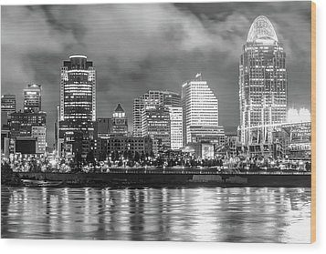 Wood Print featuring the photograph Cincinnati Skyline And The Great American Ballpark - Black And White by Gregory Ballos