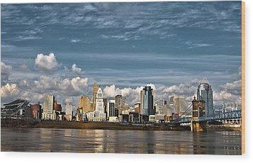Cincinnati Skyline Hdr Wood Print