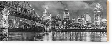 Wood Print featuring the photograph Cincinnati Skyline Panorama Ohio River Reflections - Black White by Gregory Ballos
