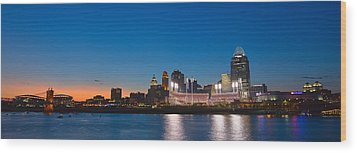 Cincinnati Skyline Sunset Wood Print