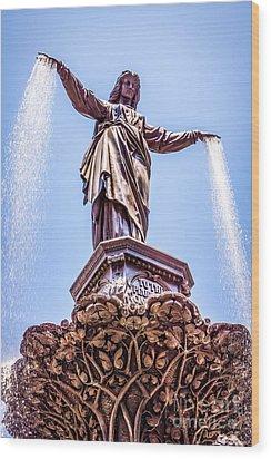 Cincinnati Tyler Davidson Fountain Genius Of Water  Wood Print by Paul Velgos