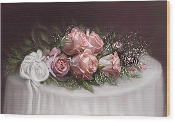 Wood Print featuring the painting Spray Of  Roses by Bonnie Willis