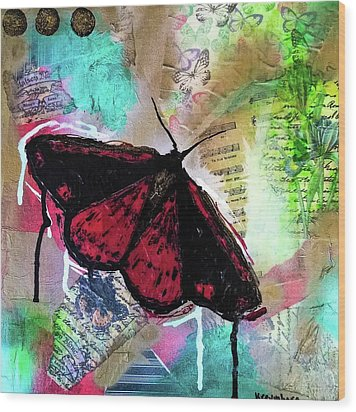 Wood Print featuring the mixed media Cinnabar Butterly by Lisa McKinney