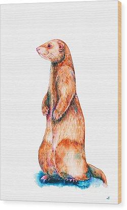 Wood Print featuring the painting Cinnamon Ferret by Zaira Dzhaubaeva