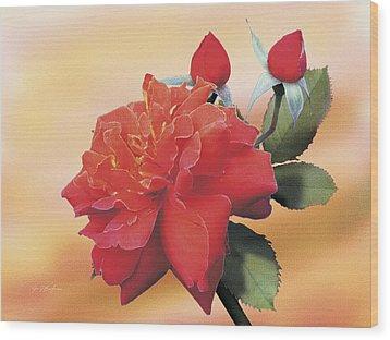 Cinnamon Roses Wood Print by Jan Baughman
