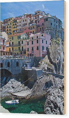 Cinque Terre Harbor And Town Wood Print by Roger Mullenhour