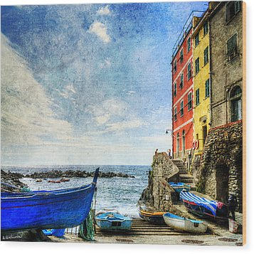Cinque Terre - Little Port Of Riomaggiore - Vintage Version Wood Print