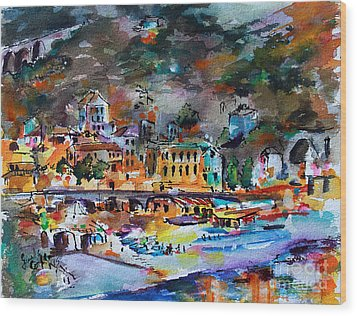 Wood Print featuring the painting Cinque Terre Monterosso At Night by Ginette Callaway
