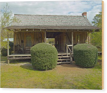 Circa 1900 Dogtrot Cabin Of Ephriam Brown From Lake Mills Florida Wood Print by Allan  Hughes
