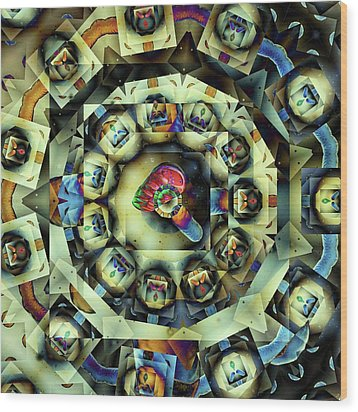 Circled Squares Wood Print by Ron Bissett