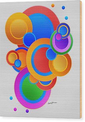Circles Wood Print by Anthony Caruso