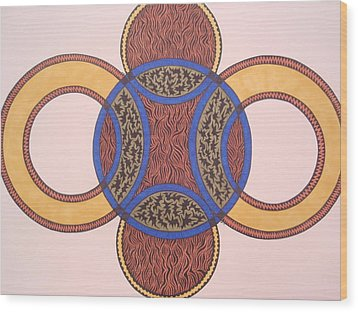 Wood Print featuring the drawing Circles In Ink by Beth Akerman