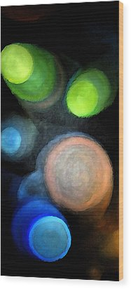 Circles Of Light Wood Print by Saad Hasnain