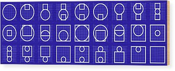 Circuare -alphabet- Grid Blueprint Wood Print by Coded Images