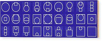 Circuare -alphabet- Grid Blueprint Wood Print