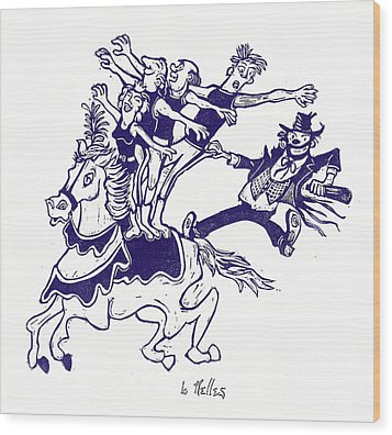Circus Acrobats On Horse With Clown Wood Print by Barry Nelles Art