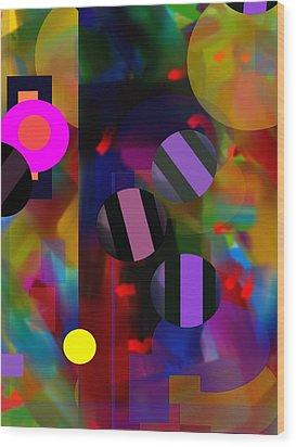 Wood Print featuring the digital art Circus Balls by Lynda Lehmann