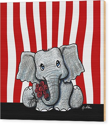 Circus Elephant Wood Print by Kim Niles