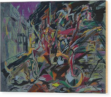 Circus In The Town  Wood Print by Tadeush Zhakhovskyy