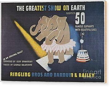 Circus Poster, 1942 Wood Print by Granger